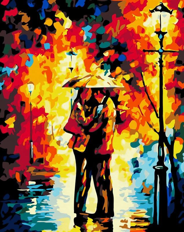 Живопись на холсте Поцелуй под дождем, 40 см х 50 см869-AB Поцелуй под дождемЖивопись на холсте Поцелуй под дождем - это набор для раскрашивания по номерам акриловыми красками на холсте. В набор входят: - холст на подрамнике с нанесенным рисунком, - пробный лист с нанесенным рисунком, - набор акриловых красок, - 3 кисти, - настенное крепление для готовой картины. Каждая краска имеет свой номер, соответствующий номеру на картинке. Нужно только аккуратно нанести необходимую краску на отмеченный для нее участок. Таким образом, шаг за шагом у вас получится великолепная картина. С помощью серии наборов Живопись на холсте вы можете стать настоящим художником и создателем прекрасных картин. Вы получите истинное удовольствие от погружения в процесс творчества и созданные своими руками картины украсят интерьер вашего дома или станут прекрасным подарком. Техника раскрашивания на холсте по номерам дает возможность легко рисовать даже сложные сюжеты. Прекрасно развивает художественный вкус, аккуратность и...