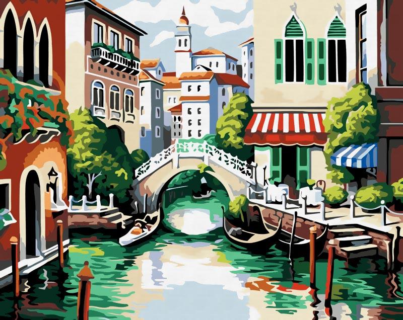 Живопись на холсте Венеция, 40 см х 50 см175-CGЖивопись на холсте Венеция - это набор для раскрашивания по номерам акриловыми красками на холсте. В набор входят: - холст на подрамнике с нанесенным рисунком, - пробный лист с нанесенным рисунком, - набор акриловых красок, - 3 кисти, - настенное крепление для готовой картины. Каждая краска имеет свой номер, соответствующий номеру на картинке. Нужно только аккуратно нанести необходимую краску на отмеченный для нее участок. Таким образом, шаг за шагом у вас получится великолепная картина. С помощью серии наборов Живопись на холсте вы можете стать настоящим художником и создателем прекрасных картин. Вы получите истинное удовольствие от погружения в процесс творчества и созданные своими руками картины украсят интерьер вашего дома или станут прекрасным подарком. Техника раскрашивания на холсте по номерам дает возможность легко рисовать даже сложные сюжеты. Прекрасно развивает художественный вкус, аккуратность и внимание. Набор...
