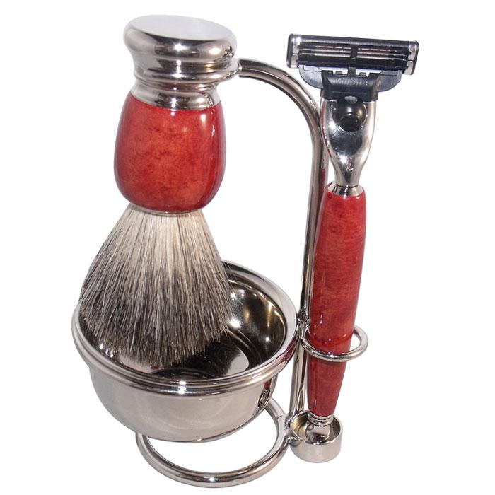 Бритвенный набор S.Quire, цвет: красно-коричневый. 68006800Бритвенный набор S.Quire - станет отличным подарком для мужчины. Набор состоит из помазка, бритвенного станка, чаши и подставки под эти предметы. Помазок выполнен из тончайшего натурального ворса (чистый барсучий необрезанный волос). Бритвенный станок оснащен оригинальными лезвиями Mach 3 Turbo фирмы Gillette. Ручки станка и помазка выполнены из прочного пластика с элементами из высококачественной нержавеющей стали. Подставка изготовлена из высококачественной стали с нержавеющим и не тускнеющим покрытием. Такой набор отлично впишется в интерьер ванной комнаты.