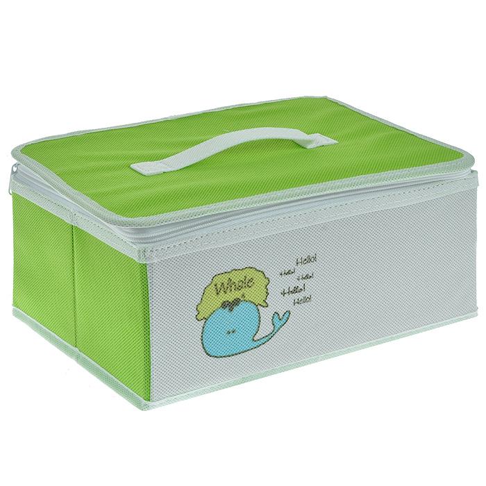 Коробка для хранения Hausmann Whale на молнии, цвет: салатовый, белый. BB211-3BB211-3Практичная и удобная коробка для хранения Hausmann Whale выполнена из вискозы белого и салатового цвета с изображением забавного кита. Такая коробка предназначена для хранения предметов для творчества и канцелярских принадлежностей. Внутри имеется два отделения, которые разделены съемной стенкой на липучке, два накладных кармашка и сетчатое отделение на крышке коробки. Крышка закрывается на молнию, имеет ручку для удобной переноски. Такая коробка сэкономит много места и сохранит порядок на столе вашего ребенка. Кроме того, коробка легко складывается и в сложенном виде не занимает много места. Легко очищается при помощи влажной ткани.