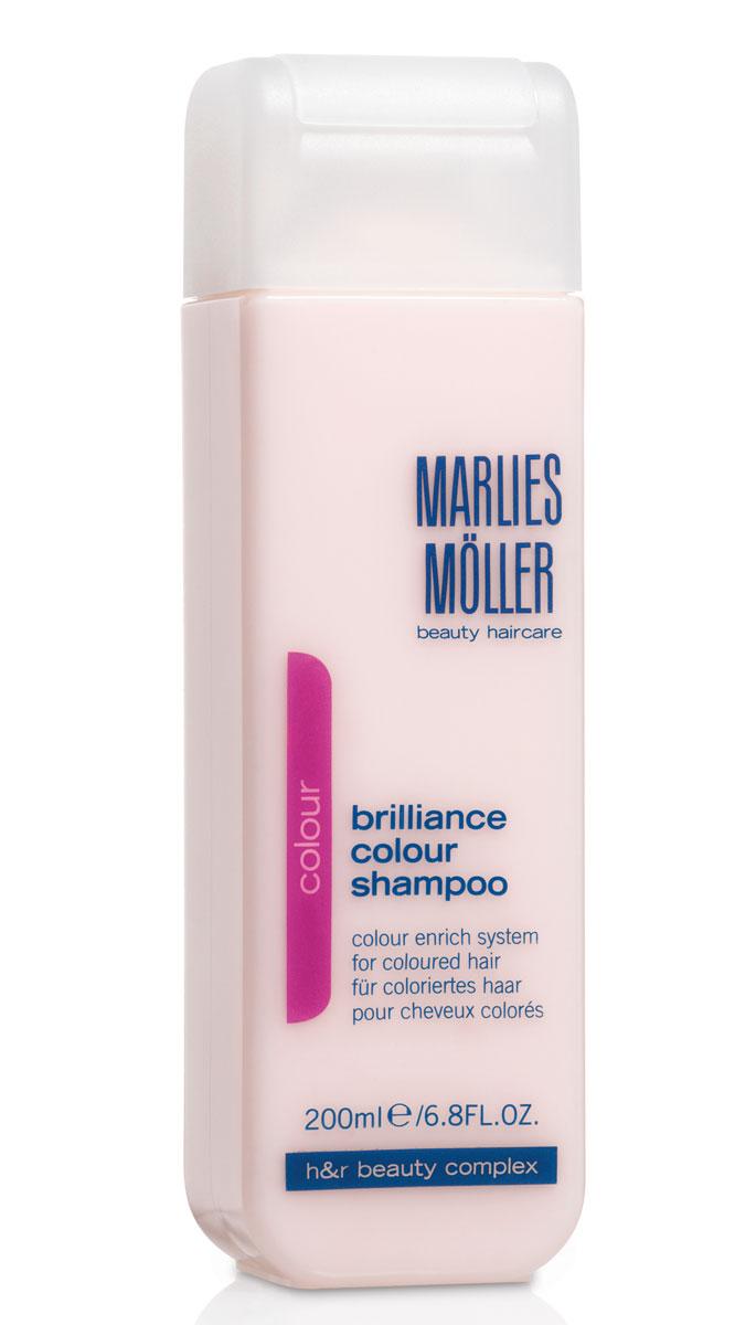 Marlies Moller Шампунь Brilliance Colour, для окрашенных волос, 200 мл21011MMШампунь с очень мягкой нежной текстурой, с перламутрово-розовым сиянием для очищения волос и кожи головы. Сохраняет цвет на долгое время. Защищает волосы от повреждения УФ-лучами. Успокаивает кожу головы, усиливает корни волос, препятствует ослаблению седых волос. Премиальный уход с профессиональным эффектом. Высокая концентрация активных компонентов. Мягкое средство без силиконов, позволяет частое применение. В зависимости от длины волос возьмите небольшое количество шампуня (размером с 1-2 лесных ореха) и вспеньте его в ладонях. Легкими круговыми массажными движениями нанесите шампунь, расположив одну руку спереди, другую - на затылке. Повторите массажные движения столько раз, сколько Вам нравится. Тщательно ополосните голову.