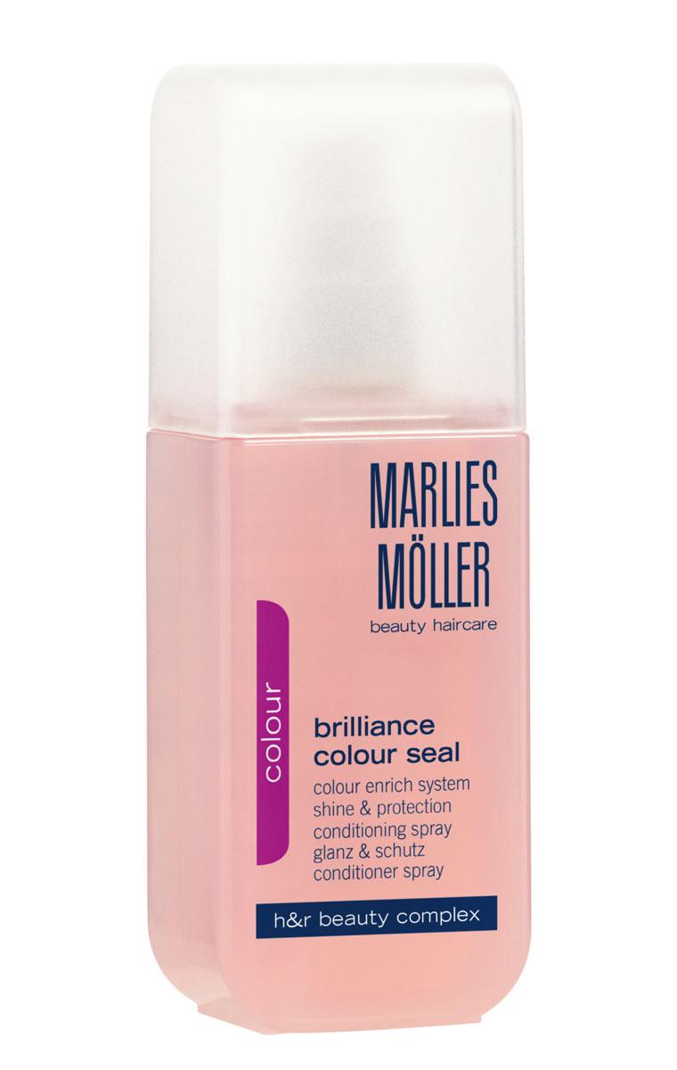 Marlies Moller Кондиционер-спрей Brilliance Colour, для окрашенных волос, 125 мл21014MMГлубоко питающий спрей Marlies Moller Brilliance Colour, содержащий натуральный экстракт риса, специально создан для окрашенных волос. Он идеально защищает волосы от УФ-излучения и обесцвечивания, обеспечивая долговременную защиту блеска и интенсивного цвета ваших волос. В то же время он восстанавливает внутреннюю структуру ваших волос, делая их мягкими, эластичными и устойчивыми к повреждениям. Характеристики: Объем: 125 мл. Артикул: 21014MM. Производитель: Швейцария. Товар сертифицирован.