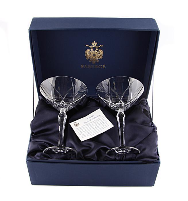 Два бокала для мартини. Хрусталь, гравировка. Фаберже, Франция, вторая половина XX века