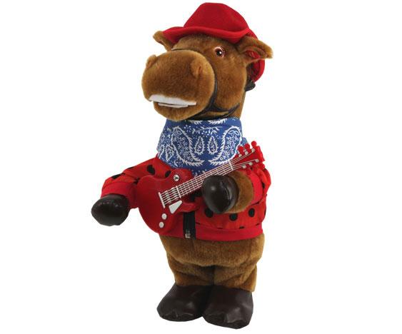 Анимированная игрушка Жеребец Галопкин, 38 смYCEV-0154Жеребец Галопкин - анимированная игрушка, выполненная в виде забавного жеребца, вызовет улыбку у каждого, кто ее увидит. Жеребец одет в красный пиджак, красную шляпу с полями, на шее повязан синий платок. В лапах он держит гитару. Нажмите кнопку на его спине, и он порадует вас веселой песенкой Гранитный камушек, исполненной группой Божья коровка. Во время исполнения Галопкин двигается в такт музыке и синхронно со словами песни открывает рот. Эта забавная игрушка будет особенно хороша в качестве подарка для поклонников музыки 90-х годов.