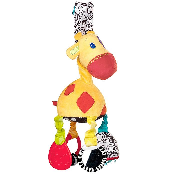 Bright Starts развивающая игрушка-подвеска Жираф8976Мягкая развивающая игрушка-подвеска Жираф выполнена из текстильного материала различных цветов и фактур в виде симпатичного жирафика с вышитыми глазками и ротиком и необычными ножками. Каждая из них пре6дставляет собой развивающий элемент. Внутри одной - расположена сфера, гремящая при тряске, на другой - безопасное зеркальце, третья представляет собой кольцо, на котором подвешены два маленьких колечка, четвертая выполнена в виде мягкого прорезывателя, который поможет малышу снять неприятные ощущения при появлении зубов. Животик жирафа шуршит. С помощью текстильной петельки на липучке игрушку легко можно прикрепить к кроватке, коляске, автокреслу или игровой дуге малыша. Игрушка подвеска Жираф поможет ребенку в развитии цветового и звукового восприятия, концентрации внимания, мелкой моторики рук, координации движений и тактильных ощущений.