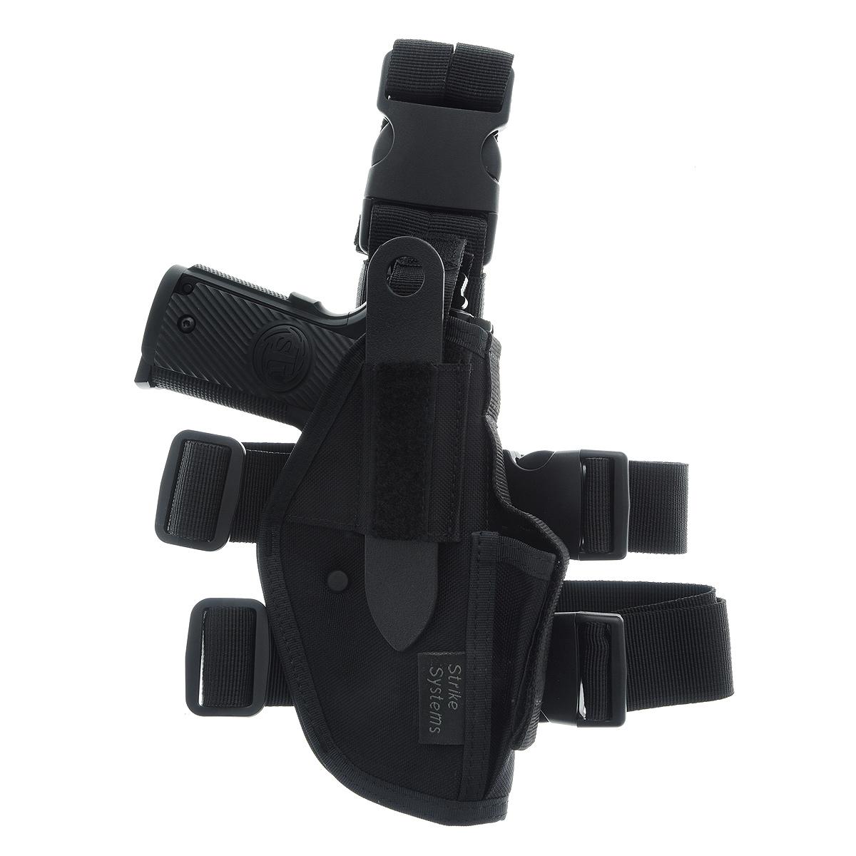 Кобура ASG набедренная для M92, G17/18, STI, CZ, Steyr, Bersa, цвет: Black (11968)11968Кобура набедренная для пневматических и страйкбольных пистолетов серий M92, G17/18, STI, CZ, Steyr, Bersa (полноразмерные и среднеразмерные - Full Frame и Mid Frame) с подсумком для запасного магазина. Предназначена для ношения в тире и на полигоне. Показанные на фото оружие и аксессуары в комплект не входят. Не рассчитана на использование с боевым оружием. Регулируется по высоте. Застежка-фастекс для быстрого снятия. Два эластичных ремня с застежками для бедра. В комплекте приспособление для удобной регулировки. Двойные швы. Из износостойкого и влагостойкого нейлона. Возврат товара возможен только при наличии заключения сервисного центра. Время работы сервисного центра: Пн-чт: 10.00-18.00 Пт: 10.00- 17.00 Сб, Вс: выходные дни Адрес: ООО ГАТО, 121471, г.Москва, ул. Петра Алексеева, д 12., тел. (495)232-4670, gato@gato.ru Характеристики: Материал: нейлон, пластик. Размер...