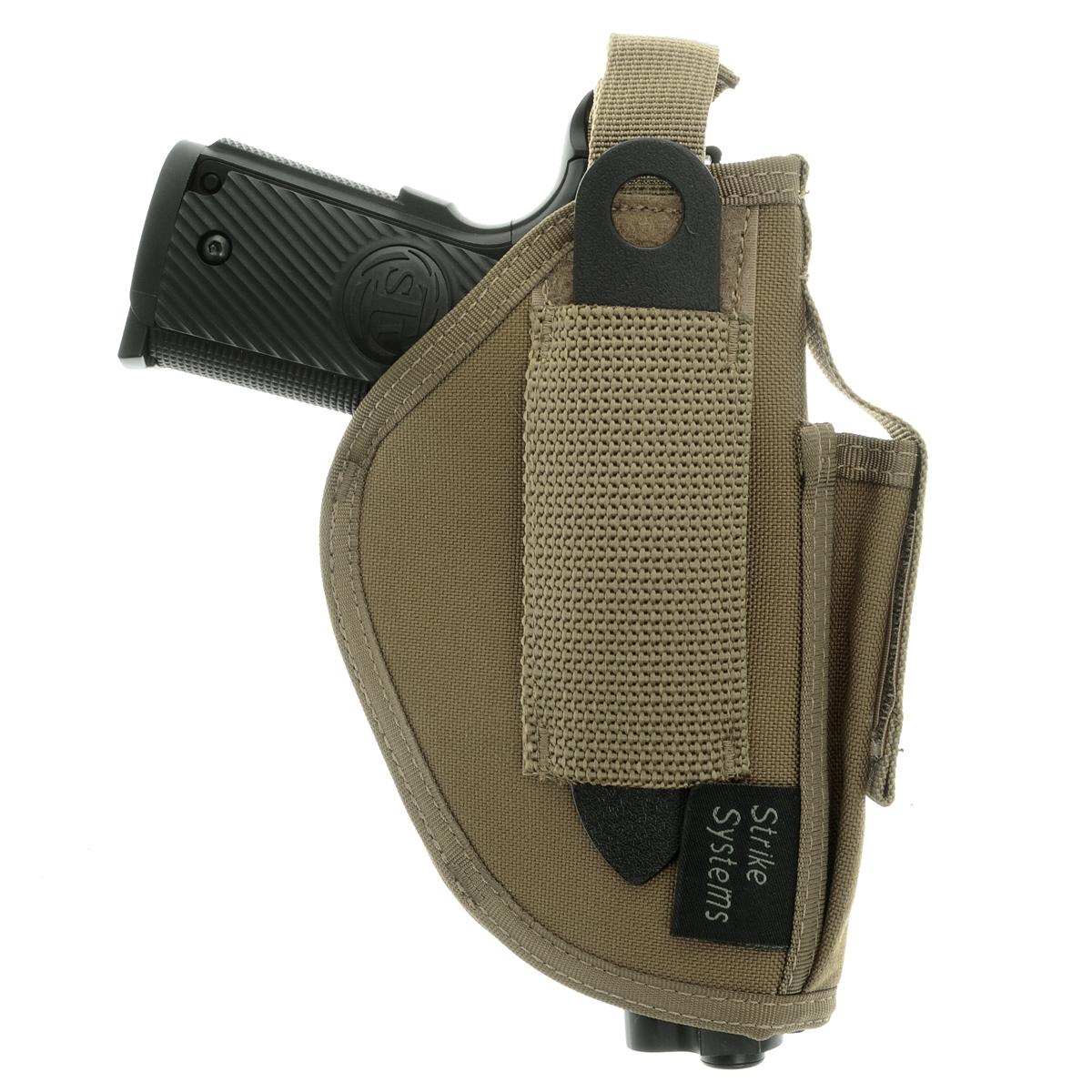 Кобура ASG оперативная для M92, G17/18, STI, CZ, Steyr, Bersa, цвет: Tan (17021)17021Кобура оперативная (для ношения под мышкой) для пневматических и страйкбольных пистолетов серий M92, G17/18, STI, CZ, Steyr, Bersa (полноразмерные и среднеразмерные - Full Frame и Mid Frame) с подсумком для запасного магазина. Предназначена для ношения в тире и на полигоне. Не рассчитана на скрытое ношение. Показанные на фото оружие и аксессуары в комплект не входят. Не рассчитана на использование с боевым оружием. Подходит для правшей. Регулируется по размерам. Комфортные мягкие лямки. Двойные швы. Из износостойкого и влагостойкого нейлона. Возврат товара возможен только при наличии заключения сервисного центра. Время работы сервисного центра: Пн-чт: 10.00-18.00 Пт: 10.00- 17.00 Сб, Вс: выходные дни Адрес: ООО ГАТО, 121471, г.Москва, ул. Петра Алексеева, д 12., тел. (495)232-4670, gato@gato.ru Характеристики: Материал: нейлон. Размер кобуры (без креплений): 18 см х 11...