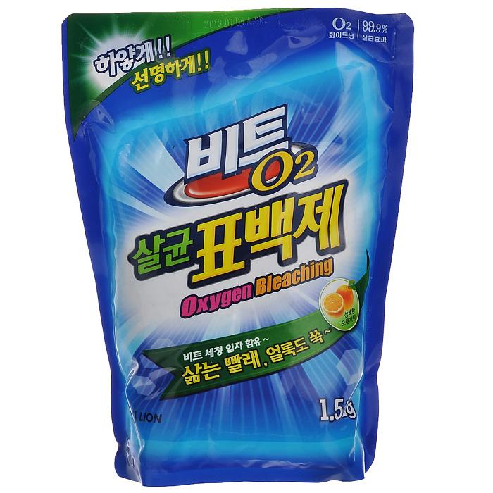 Кислородный отбеливатель Cj Lion Beat O2, с эффектом стерилизации, 1,5 кг612353Кислородный отбеливатель Cj Lion Beat O2 предназначен для удаления трудновыводимых пятен, следов от фруктов, соков, травы, ржавчины, чая, загрязнений на воротничках и манжетах. Придает белизну белым вещам и яркость цветным, не повреждая структуру ткани. Обладает дезинфицирующим эффектом: уничтожает 99% бактерий (кишечную, дизентерийную, синегнойную палочки, сальмонеллу, клебсиеллу пневмонии, эндоспоры). Имеет противогрибковый и антиплесневый эффект (Anti-mold Effect). Предотвращает распространение плесени внутри стирального бака, преграждает попадание плесени в воду для стирки.