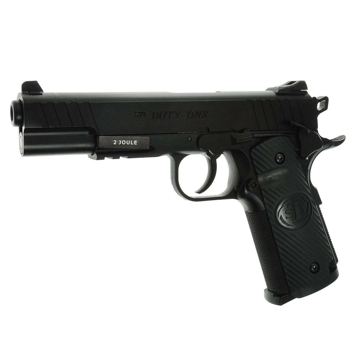ASG STI Duty One пистолет страйкбольный, CO2, 6 мм (16722)16722Страйкбольный пистолет - римейк известной классической модели Colt M1911 - STI Duty One, производимый по лицензии американской компании STI,c максимальной имитацией функционирования всех подвижных частей - подвижный металлический затвор, предварительный взвод курка, регулируемый целик, планка Вивера под стволом для крепления фонаря и ЛЦУ. Версия неблоубэк (при стрельбе затвор неподвижен).Имеет аутентичную маркировку и уникальный серийный номер Баллон CO2 размещается в рукоятке Ствол имеет резьбу для установки реплики глушителя Рукоятка имеет развитый упор хвост бобра Общая длина – 186 мм Калибр – 6 мм Баллон - 12 г СО2 Дульная энергия - до 1,8 Джоулей Емкость магазина – 16 шариков Тип УСМ - Одинарного действия Уважаемые покупатели, при использовании пневматики соблюдайте технику безопасности: храните в разряженном состоянии в местах недоступных для детей, не направляйте на людей и животных, при стрельбе следите...