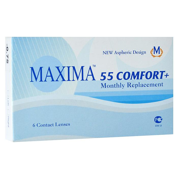 Maxima контактные линзы 55 Comfort Plus (6шт / 8.6 / -0.75)7673Контактные линзы Maxima 55 Comfort Plus - это линзы ежемесячной замены, имеющие асферический дизайн и изготовленные из биосовместимого материала. Эти контактные линзы разработаны специально для людей имеющих не большую степень астигматизма, а так же желающих ощущать чувство полного комфорта в течение целого дня. Асферическая поверхность контактной линзы помогает формировать более контрастное и четкое изображение. В Maxima 55 Comfort Plus все лучи, в том числе и проходящие через периферию, собираются вместе, тем самым минимизируя оптические искажения. Другим достоинством этих линз является материал из которого они изготовлены. Контактные линзы Maxima 55 Comfort Plus обладают низким уровнем образования отложений, превосходно удерживают воду и отлично пропускают кислород к роговице глаза. Все это стало возможно благодаря совершенно новому биосовместимому материалу, благодаря ему ношение контактных линз стало еще более удобным и комфортным. Замена через 1 месяц.