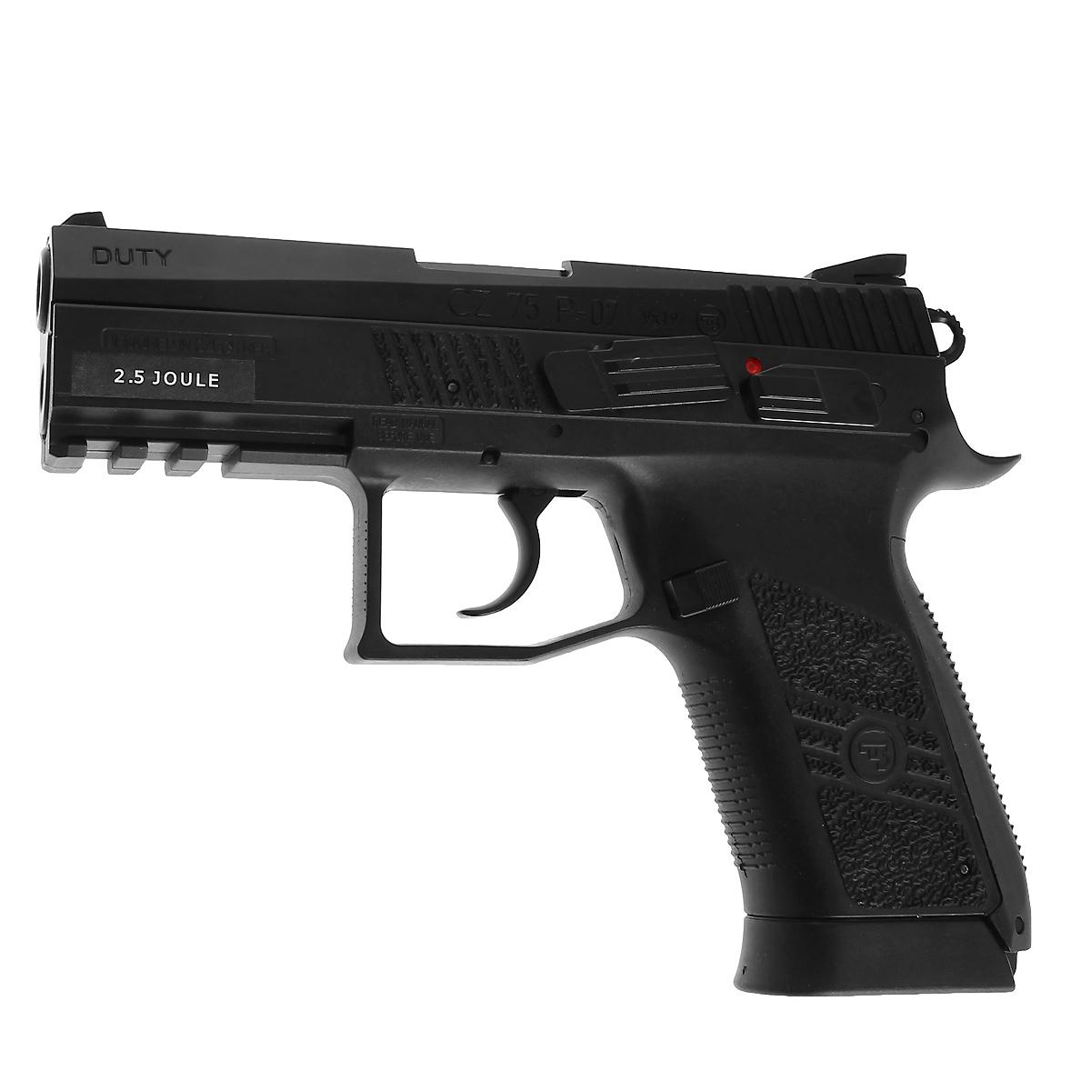 ASG CZ 75 P-07 Duty пистолет пневматический CO2, 4,5 мм, цвет: Black (16726) - ASG16726Реплика известной модели чешского пистолета CZ 75 P-07 Duty с максимальной имитацией функционирования всех подвижных частей - движущийся при стрельбе металлический затвор, предварительный взвод курка, регулируемый целик, планка Вивера под стволом для крепления фонаря или ЛЦУ. Версия неблоубэк (при стрельбе затвор неподвижен). Несет аутентичную маркировку и имеет уникальный серийный номер Баллон CO2 размещается в рукоятке Общая длина - 186 мм, Материал - оружейный пластик, резина, металл Калибр - 4.5 мм Баллон - 12 г СО2 Дульная Энергия - менее 3 Джоулей Емкость магазина - 20 шариков Тип УСМ - Одиночного / Двойного действия (взвод для каждого выстрела / взвод только для первого выстрела) Уважаемые покупатели, при использовании пневматики соблюдайте технику безопасности: храните в разряженном состоянии в местах недоступных для детей, не направляйте на людей и животных, при стрельбе следите, чтобы в районе мишени...