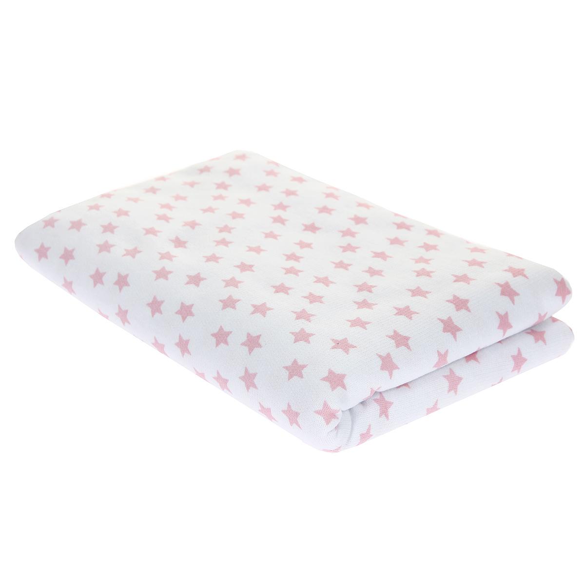 Пеленка детская Трон-Плюс, цвет: белый, розовый, 120 см х 90 см5411 роз звезДетская пеленка Трон-Плюс подходит для пеленания ребенка с самого рождения. Она невероятно мягкая и нежная на ощупь. Пеленка выполнена из футера - хлопчатобумажной ткани с небольшим начесом с изнаночной стороны. Такая ткань прекрасно дышит, она гипоаллергенна, обладает повышенными теплоизоляционными свойствами и не теряет формы после стирки. Мягкая ткань укутывает малыша с необычайной нежностью. Пеленку также можно использовать как легкое одеяло в теплую погоду, простынку, полотенце после купания, накидку для кормления грудью или как согревающий компресс при коликах. Пеленочка белого цвета оформлена изображениями розовых звездочек. Ее размер подходит для пеленания даже крупного малыша.