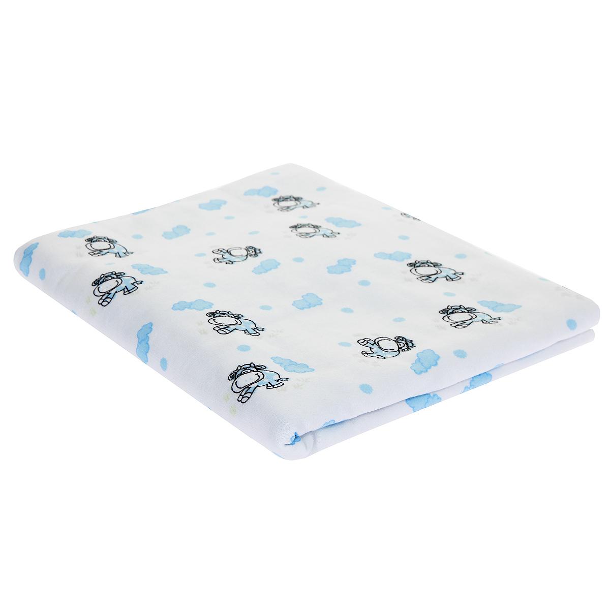 Пеленка детская Трон-Плюс, цвет: белый с голубыми коровками, 120 см х 90 см5411 гол корПеленка выполнена из футера - хлопчатобумажной ткани с небольшим начесом с изнаночной стороны. Такая ткань прекрасно дышит, она гипоаллергенна, обладает повышенными теплоизоляционными свойствами и не теряет формы после стирки. Мягкая ткань укутывает малыша с необычайной нежностью. Пеленку также можно использовать как легкое одеяло в теплую погоду, простынку, полотенце после купания, накидку для кормления грудью или как согревающий компресс при коликах. Пеленочка белого цвета оформлена изображениями голубых облаков и коровок. Ее размер подходит для пеленания даже крупного малыша.