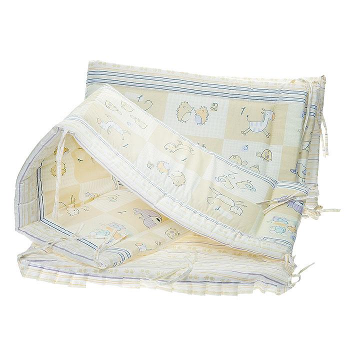 Бампер в кроватку Считалочка, цвет: бежевый105/4Бампер в кроватку Считалочка состоит из четырех частей и закрывает весь периметр кроватки. Бортик крепится к кроватке с помощью специальных завязок, благодаря чему его можно поместить в любую детскую кроватку. Бампер выполнен из бязи - натурального хлопка безупречной выделки. Деликатные швы рассчитаны на прикосновение к нежной коже ребенка. Бампер оформлен изображениями милых зверюшек, их количество рядом с изображением обозначено цифрой. Наполнителем служит холлкон - эластичный синтетический материал, экологически безопасный и гипоаллергенный, обладающий высокими теплозащитными свойствами. Бампер защитит ребенка от возможных ударов о деревянные или металлические части кроватки. Бортик подходит для кроватки размером 120 см х 60 см. Характеристики: Материал верха: бязь, 100% хлопок. Наполнитель: холлкон. Общая длина бампера: 360 см. Высота бампера: 35 см. Толщина бампера: 1,5 см. Размер упаковки: 62 см х...