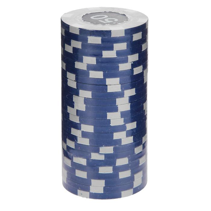 Фишки для покера с номиналом 50, цвет: синий, 25 штMA04Фишки для покера с номиналом 50 выполнены из пластика синего цвета. В наборе - 25 штук. Такие фишки прекрасно подойдут для игры в покер.