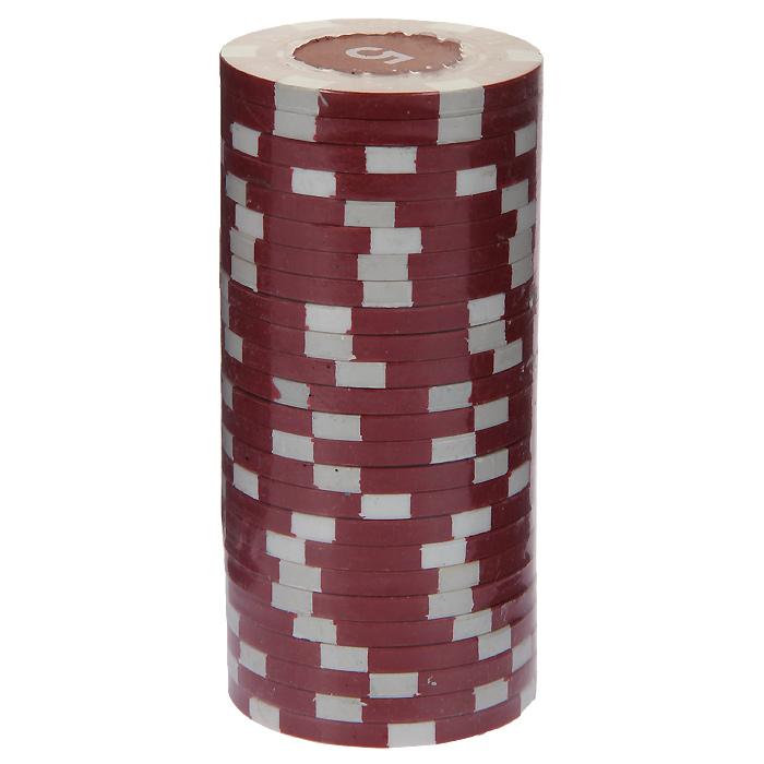 Фишки для покера с номиналом 5, цвет: красный, 25 штMA02Фишки для покера с номиналом 5 выполнены из пластика красного цвета. В наборе - 25 штук. Такие фишки прекрасно подойдут для игры в покер.