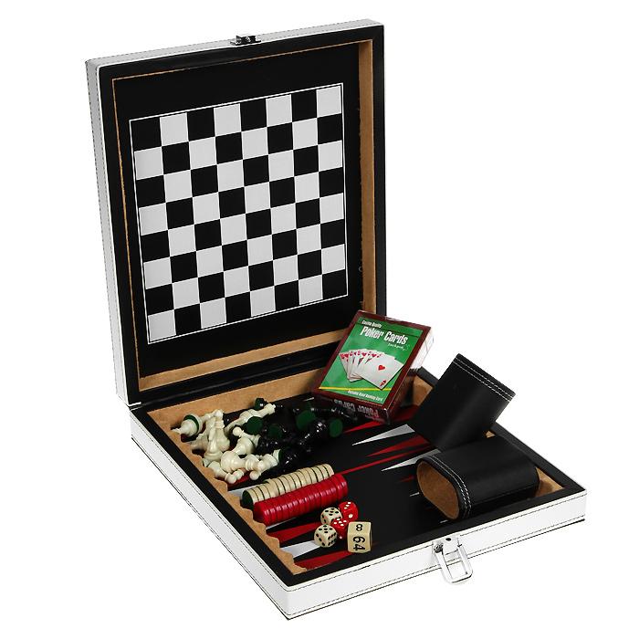 Набор игр 4в1 Premium Edition. MAEG013СMAEG013СНабор игр 4в1 Premium Edition включает шахматы, шашки, нарды и покер. В наборе имеется колода карт, 32 шахматные фигуры, 30 фишек, 5 игральных костей, 2 чашки для костей и мешочек для фишек. Предметы набора выполнены из высококачественных матеиалов и упакованы в элегантный кейс, обтянутый искусственной кожей белого и черного цвета и оформленный декоративной контрастной стежкой. Закрывается кейс на металлический замок. Внутренняя поверхность - игровое поле для шахмат и шашек и игровое поле для нард. Шахматы, шашки, нарды и покер - это увлекательные игры, которые помогут развить логическое мышление и позволят вам интересно и с пользой провести время. В наборе - подробная инструкция с описанием правил игры. Характеристики: Материал: пластик, текстиль, искусственная кожа, картон. Размер колоды карт: 6,5 см х 9 см х 2 см. Размер стакана для костей: 6 см х 3,5 см х 6 см. Размер мешочка: 6 см х 11 см. Высота шахматной фигуры: 2,5 см - 4 см. ...