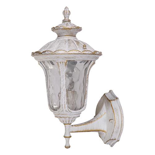 Светильник садово-парковый Петергоф настенный. L&L5149WL&L5149WУличный светильник белого цвета с золотой патиной Luck & Light Петергоф создан для загородных резиденций в стиле Петродворца с его фонтанами и скульптурами. Патинированная отделка арматуры делает его ещё более старинным, а хорошо проработанные детали и элементы изысканным. Его свет создаст уютную и загадочную атмосферу вашего сада.