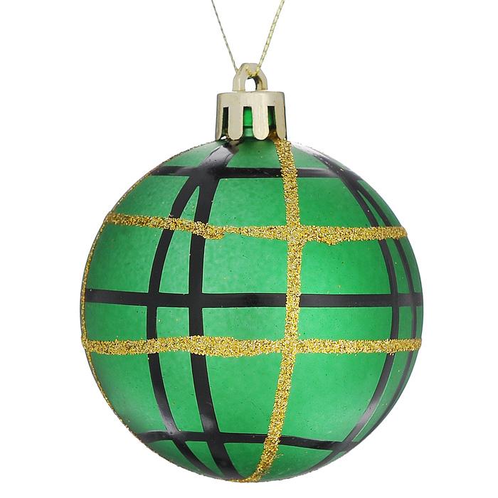 Набор подвесных новогодних украшений Шары, цвет: зеленый, 6 шт. 3228232282Набор подвесных украшений состоит из 6 шаров, выполненных из пластика зеленого цвета и декорированных черными и золотистыми полосками. Набор шаров украсит новогоднюю елку и создаст теплую и уютную атмосферу праздника. Шарики упакованы в пластиковую коробку. Елочная игрушка - символ Нового года. Она несет в себе волшебство и красоту праздника. Создайте в своем доме атмосферу веселья и радости, украшая всей семьей новогоднюю елку нарядными игрушками, которые будут из года в год накапливать теплоту воспоминаний.