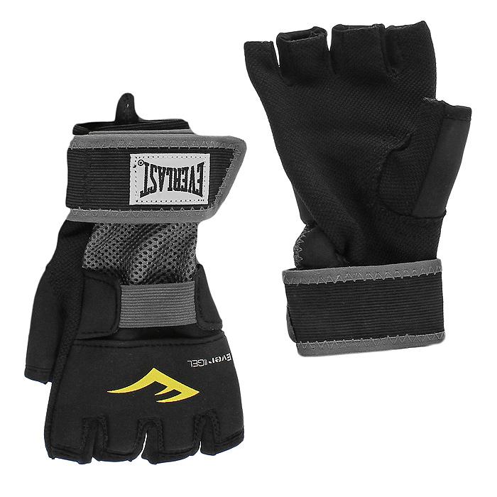 Перчатки гелевые Everlast Evergel, цвет: черный. Размер L4355BLUБоксерские тренировочные перчатки с гелевой прокладкой. Инновационная технология Evergel, которая не только обеспечивает прекрасную амортизацию ударов, но и защищает суставы пальцев при тренировках. Обмотки с застежкой на липучке позволяют подогнать перчатки по размеру.