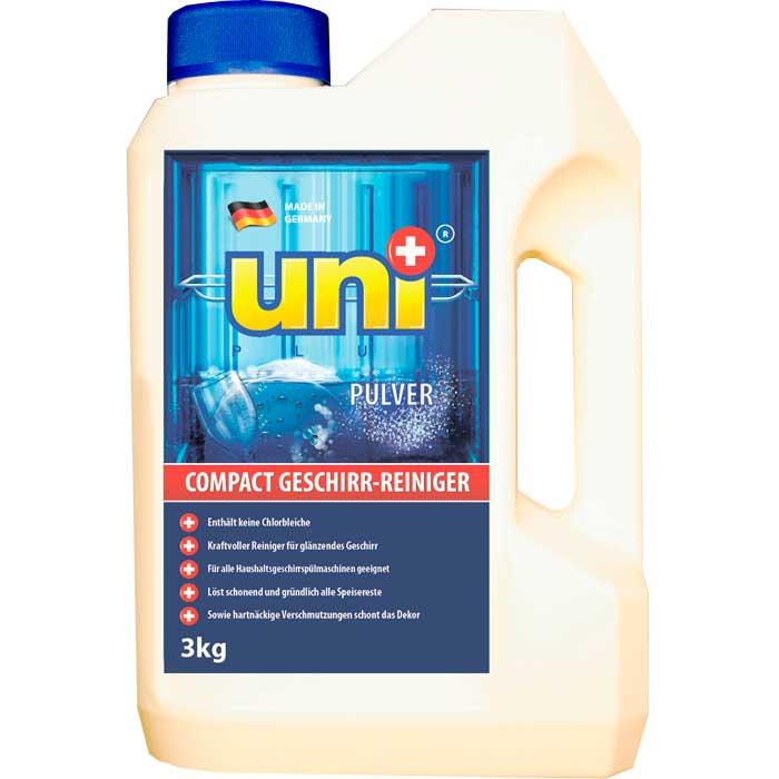 Чистящее средство для посудомоечных машин UniPlus, 3 кг200476Эффективное концентрированное моющее средство UniPlus предназначено для использования в посудомоечных машинах всех типов. Специальная формула порошка проникает в засохшие загрязнения и гарантированно удаляет сильный налет. Он также полностью удаляет жир, остатки пищи, следы от губной помады, налет от чая и кофе, гарантируя блестящий результат.