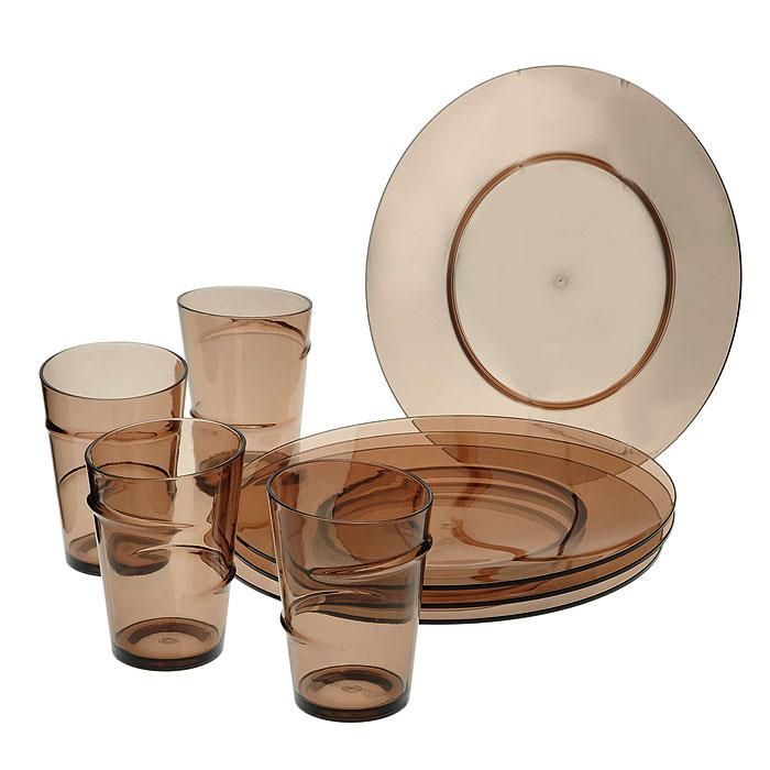 Набор эко-посуды, цвет: кофейный, 8 предметовGRF0051*4+GRF0117*4Набор эко-посуды состоит из 4 тарелок и 4 стаканов, выполненных из прозрачного пластика кофейного цвета. Такой набор будет отлично смотреться на вашей кухне и порадует своей функциональностью. Эко-посуда является абсолютно натуральной и безопасной, ее можно мыть в посудомоечной машине, использовать в микроволновой печи.
