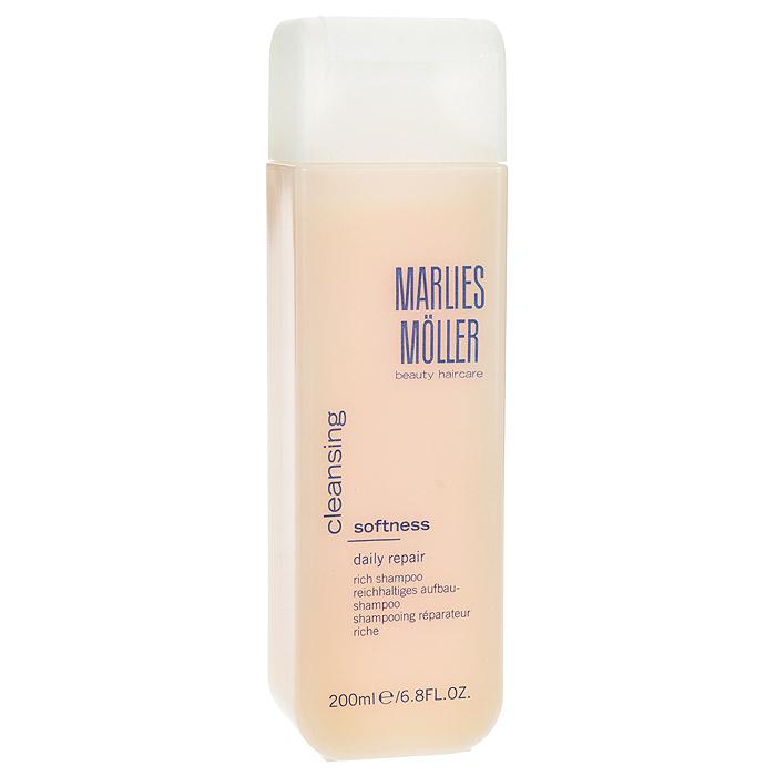 Marlies Moller Шампунь Softness, ежедневный, восстанавливающий, обогащенный, 200 мл104927MMsШампунь Marlies Moller Softness - интенсивный, питательный, увлажняющий и смягчающий с маслами пассифлоры и камелии сатива. Придает волосам блеск и мягкость, делает их послушными и сияющими. Обладает эффектом anti-frizz. Не содержит силикона. Характеристики: Объем: 200 мл. Артикул: 104927MMs. Производитель: Швейцария. Товар сертифицирован.
