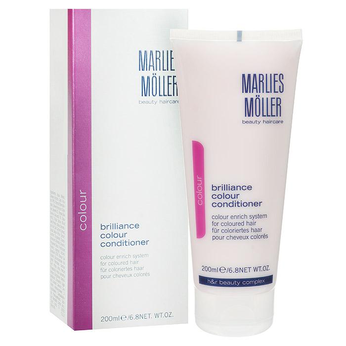 Marlies Moller Кондиционер Brilliance Colour для окрашенных волос, 200 мл21012MMГлубоко питающий кондиционер Marlies Moller для окрашенных волос, содержащий натуральный экстракт риса, специально создан для окрашенных волос, для особенно нежного очищения волос и кожи головы. Он идеально защищает волосы от ультрафиолетового излучения и обесцвечивания, обеспечивая долговременную защиту блеска и интенсивного цвета ваших волос. В то же время, он восстанавливает внутреннюю структуру ваших волос, делая их мягкими, эластичными и устойчивыми к повреждениям. Применение : после применения шампуня, нанесите небольшое количество кондиционера, размером с 1-2 лесных ореха, в зависимости от длинны волос на кончики волос. Оставьте на несколько минут и затем тщательно смойте Характеристики: Объем: 200 мл. Артикул: 21012MM. Производитель: Швейцария. Товар сертифицирован.