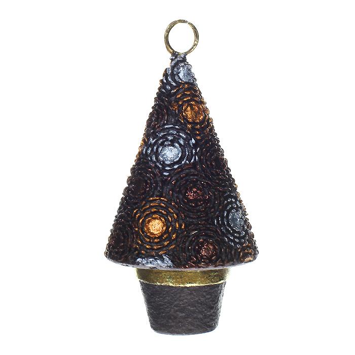 """Феникс-Презент Новогоднее подвесное украшение """"Елка"""", цвет: коричневый. 25420"""