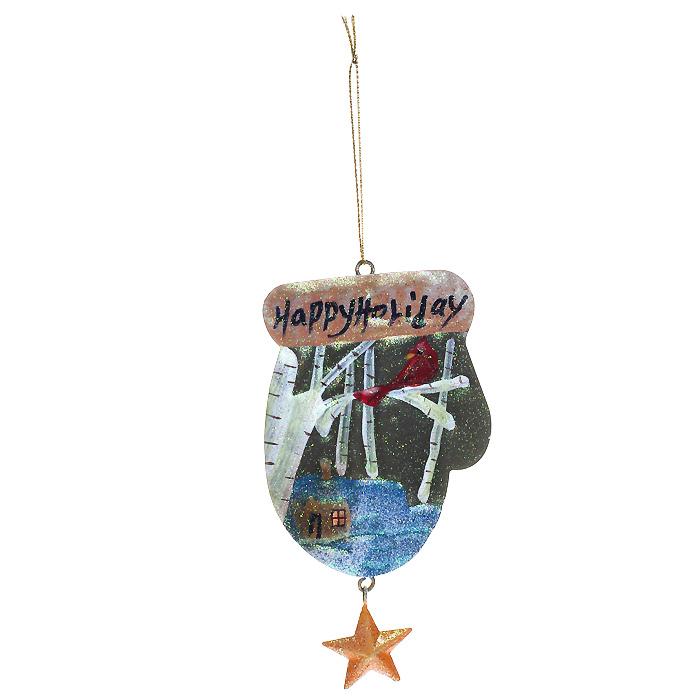 Новогоднее подвесное украшение Варежка. 2592525925Оригинальное новогоднее украшение «Варежка» отлично подойдет для праздничного декора вашего дома и новогодней ели. Украшение выполнено из металла в виде варежки с надписью «Happy holiday». Игрушка оформлена блестками и подвеской в виде звездочки. С помощью специальной петельки украшение можно повесить в любом понравившемся вам месте. Но, конечно, удачнее всего такая игрушка будет смотреться на праздничной елке. Елочная игрушка - символ Нового года. Она несет в себе волшебство и красоту праздника. Создайте в своем доме атмосферу веселья и радости, украшая новогоднюю елку нарядными игрушками, которые будут из года в год накапливать теплоту воспоминаний. Коллекция декоративных украшений из серии Magic Time принесет в ваш дом ни с чем несравнимое ощущение волшебства!