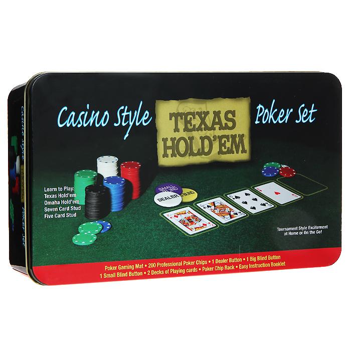 Набор для покера Texas Holdem, размер: 10х18х13 см. ГД3ГД3Набор для игры в покер - то, что нужно для отличного проведения досуга. Набор состоит из двух колод игральных карт, 200 игровых пластиковых фишек, 2 фишек Big Blind, 2 фишек Small Blind, 2 фишек Dealer и сукна. Набор фишек состоит из 40 фишек белого цвета номиналом 1, 40 фишек красного цвета номиналом 5, 40 фишек зеленого цвета номиналом 25, 40 фишек синего цвета номиналом 50 и 40 фишек черного цвета номиналом 100. Предметы набора хранятся в металлической коробке. Такой набор станет отличным подарком для любителей покера. Покер (англ. poker) - карточная игра, цель которой - выиграть ставки, собрав как можно более высокую покерную комбинацию, используя 5 карт, или вынудив всех соперников прекратить участвовать в игре. Игра идет с полностью или частично закрытыми картами. Покер как карточная игра существует более 500 лет. Зародился он в Европе: в Испании, Франции, Италии. С течением времени правила покера менялись. Первые письменные упоминания о современном...