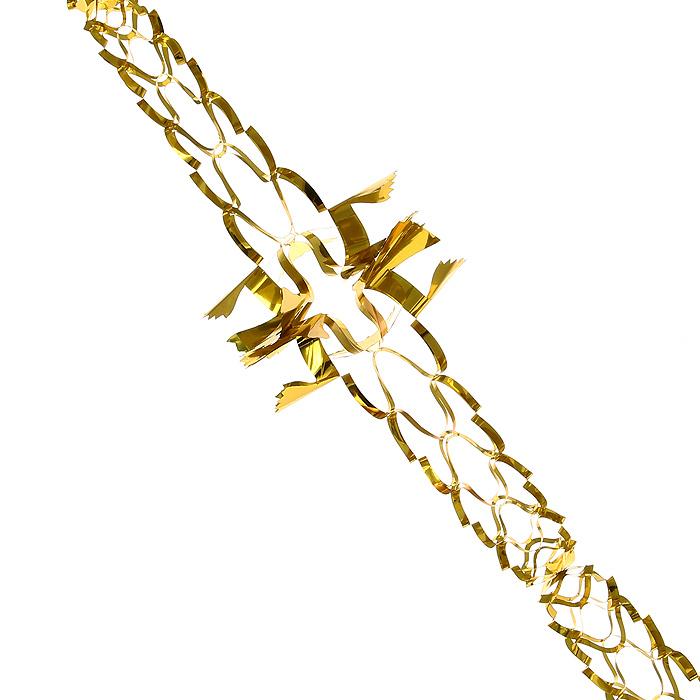 Новогодняя гирлянда Magic Time, цвет: золотистый, 2 м. 3163531635Новогодняя гирлянда «Magic Time» прекрасно подойдет для декора дома или офиса. Украшение выполнено из металлизированной фольги золотистого цвета. С помощью специальных петелек его можно повесить в любом понравившемся вам месте. Легко складывается и раскладывается. Новогодние украшения несут в себе волшебство и красоту праздника. Они помогут вам украсить дом к предстоящим праздникам и оживить интерьер по вашему вкусу. Создайте в доме атмосферу тепла, веселья и радости, украшая его всей семьей. Коллекция декоративных украшений из серии Magic Time принесет в ваш дом ни с чем несравнимое ощущение волшебства! Характеристики: Материал: металлизированная фольга (ПВХ). Цвет: золотистый. Длина гирлянды: 2 м. Диаметр гирлянды (в собранном виде): 14 см. Размер упаковки: 16 см х 19 см х 1 см. Артикул: 31635.