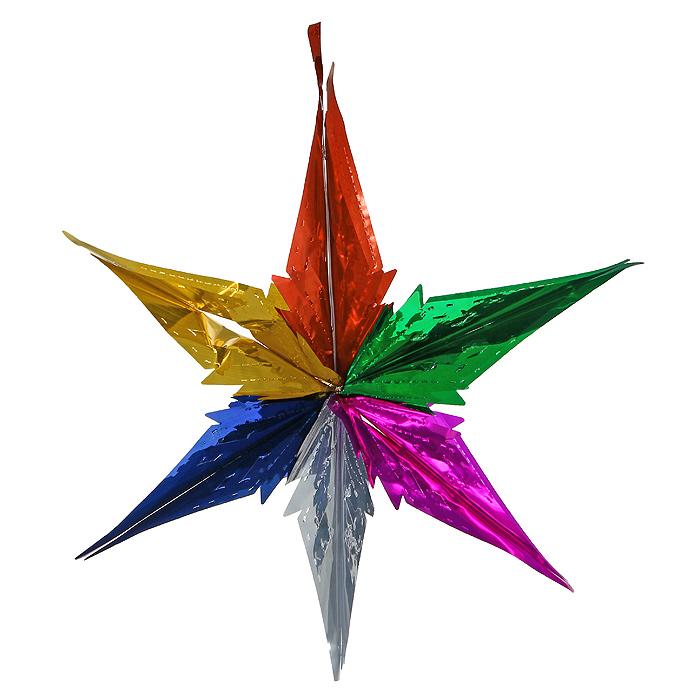 Новогодняя гирлянда Magic Time, цвет: мульти. 3096530965Новогодняя гирлянда «Magic Time» прекрасно подойдет для декора дома и праздничной елки. Украшение выполнено из разноцветной металлизированной фольги в виде звезды. С помощью специальной петельки его можно повесить в любом понравившемся вам месте. Легко складывается и раскладывается. Новогодние украшения несут в себе волшебство и красоту праздника. Они помогут вам украсить дом к предстоящим праздникам и оживить интерьер по вашему вкусу. Создайте в доме атмосферу тепла, веселья и радости, украшая его всей семьей. Коллекция декоративных украшений из серии Magic Time принесет в ваш дом ни с чем несравнимое ощущение волшебства! Характеристики: Материал: металлизированная фольга (ПВХ). Цвет: мульти. Высота украшения: 56 см. Размер упаковки: 16 см х 33 см х 0,5 см. Артикул: 30965.