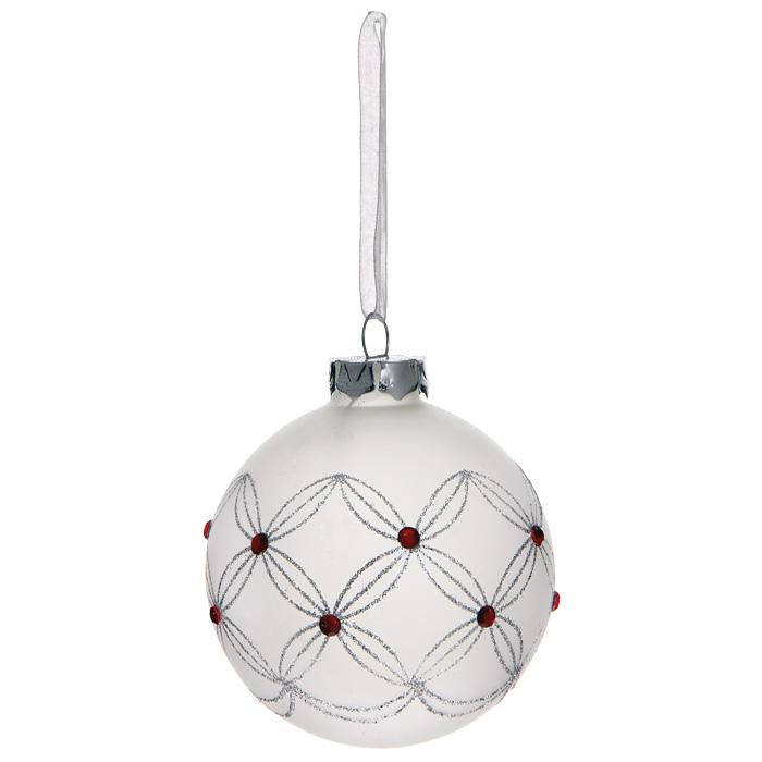 Новогоднее подвесное украшение Шар, цвет: белый. 3050930509Новогоднее подвесное украшение «Шар» выполнено из белого матового стекла и декорировано блестками и стразами. С помощью специальной ленты украшение можно повесить в любом понравившемся вам месте. Но, конечно, удачнее всего такой шар будет смотреться на праздничной елке. Елочная игрушка - символ Нового года. Она несет в себе волшебство и красоту праздника. Создайте в своем доме атмосферу веселья и радости, украшая новогоднюю елку нарядными игрушками, которые будут из года в год накапливать теплоту воспоминаний. Коллекция декоративных украшений из серии Magic Time принесет в ваш дом ни с чем несравнимое ощущение волшебства! Характеристики: Материал: стекло, металл, текстиль. Цвет: белый. Диаметр игрушки: 8 см. Размер упаковки: 9,5 см х 9,5 см х 9 см. Артикул: 30509.