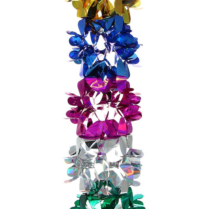 Новогодняя гирлянда Magic Time, цвет: мульти, 3 м. 3098430984Новогодняя гирлянда «Magic Time» прекрасно подойдет для декора дома или офиса. Украшение выполнено из разноцветной металлизированной фольги. С помощью специальных петелек его можно повесить в любом понравившемся вам месте. Легко складывается и раскладывается. Новогодние украшения несут в себе волшебство и красоту праздника. Они помогут вам украсить дом к предстоящим праздникам и оживить интерьер по вашему вкусу. Создайте в доме атмосферу тепла, веселья и радости, украшая его всей семьей. Коллекция декоративных украшений из серии Magic Time принесет в ваш дом ни с чем несравнимое ощущение волшебства! Характеристики: Материал: металлизированная фольга (ПВХ). Цвет: мульти. Длина гирлянды: 3 м. Размер гирлянды (в собранном виде): 20 см х 20 см. Размер упаковки: 25 см х 22 см х 2 см. Артикул: 30984.