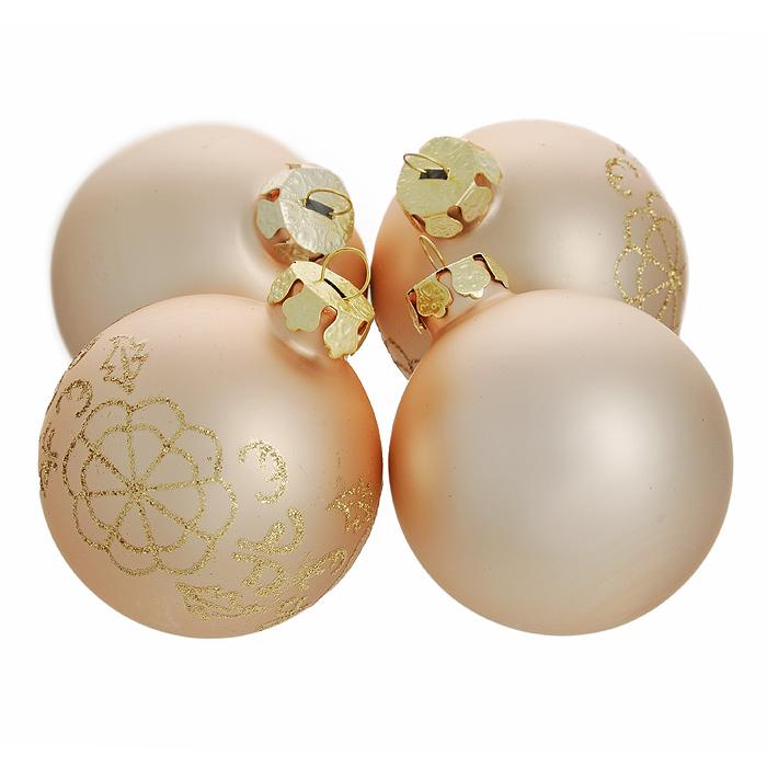 Набор новогодних подвесных украшений Шары, цвет: золотистый, 4 шт. 3055230552Набор новогодних подвесных украшений «Шары» включает 4 игрушки. Украшения выполнены из окрашенного стекла и оформлены золотистыми блестками. Такой набор прекрасно подойдет для праздничного декора новогодней ели. Елочная игрушка - символ Нового года. Она несет в себе волшебство и красоту праздника. Создайте в своем доме атмосферу веселья и радости, украшая новогоднюю елку нарядными игрушками, которые будут из года в год накапливать теплоту воспоминаний. Коллекция декоративных украшений из серии Magic Time принесет в ваш дом ни с чем несравнимое ощущение волшебства! Характеристики: Материал: стекло, блестки. Цвет: золотистый с розовым отливом. Комплектация: 4 шт. Диаметр украшения: 6 см. Размер упаковки: 15 см х 15 см х 6,5 см. Артикул: 30552.