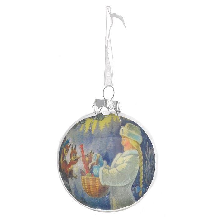Новогоднее подвесное украшение Снегурочка. 3053130531Круглое объемное новогоднее украшение Снегурочка выполнено из стекла, внутренняя стенка которого декорирована очаровательным изображением снегурочки. С помощью специальной петельки украшение можно повесить в любом понравившемся вам месте. Но, конечно, удачнее всего такая игрушка будет смотреться на праздничной елке. Новогодние украшения приносят в дом волшебство и ощущение праздника. Создайте в своем доме атмосферу веселья и радости, украшая всей семьей новогоднюю елку нарядными игрушками, которые будут из года в год накапливать теплоту воспоминаний. Коллекция декоративных украшений из серии Magic Time принесет в ваш дом ни с чем несравнимое ощущение волшебства!