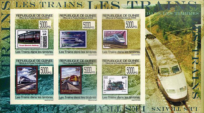 Малый лист без зубцов Поезда на марках. Гвинея. 2009 годF30 BLUEМалый лист без зубцов Поезда на марках. Гвинея. 2009 год. Размер марки 3,4 х 3,4 см, размер листа 12,5 х 9,5 см. Сохранность хорошая.