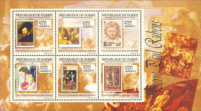 Малый лист Рубенс на марках. Гвинея. 2009 годF30 BLUEМалый лист Рубенс на марках. Гвинея. 2009 год. Размер марки 3,4 х 3,4 см, размер блока 12,5 х 9,5 см. Сохранность хорошая.