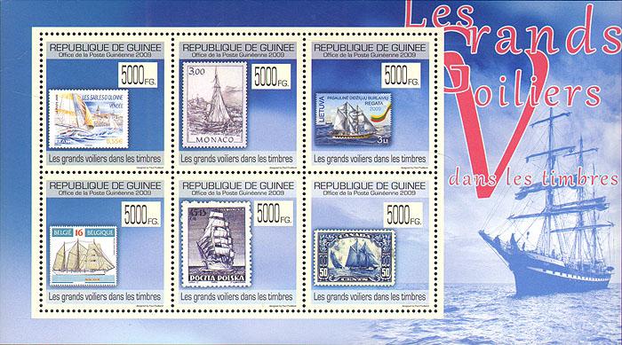 Малый лист Парусники на марках. Гвинея. 2009 годF30 BLUEМалый лист Парусники на марках. Гвинея. 2009 год. Размер марки 3,4 х 3,4 см, размер блока 12,5 х 9,5 см. Сохранность хорошая.