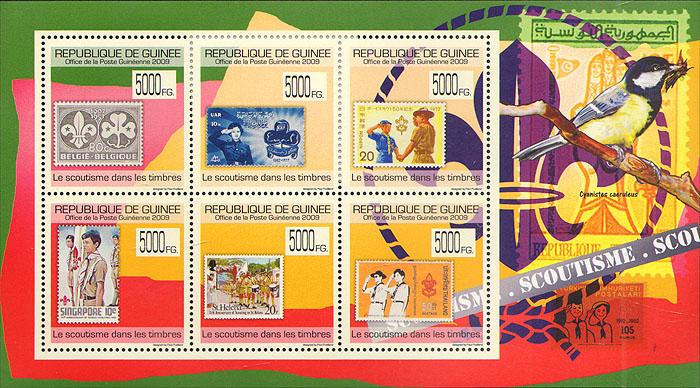 Малый лист Скаутизм на марках. Гвинея. 2009 годF30 BLUEМалый лист Скаутизм на марках. Гвинея. 2009 год. Размер марки 3,4 х 3,4 см, размер блока 12,5 х 9,5 см. Сохранность хорошая.