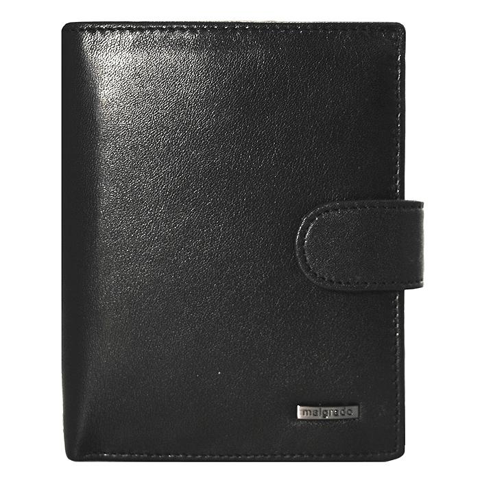Портмоне Malgrado, цвет: черный. 46006-55D46006-55D BlackУниверсальное портмоне Malgrado изготовлено из натуральной кожи черного цвета. Внутри содержит три отделения для купюр, одно из которых на молнии, семь дополнительных кармашков для кредитных карт и мелочей, кармашек для мелочи на кнопке, пластиковый кармашек для проездного, пропуска или фотографии. Закрывается портмоне хлястиком на кнопке. Благодаря насыщенному черному цвету и лаконичному дизайну, такое портмоне подойдет любителям классических аксессуаров.