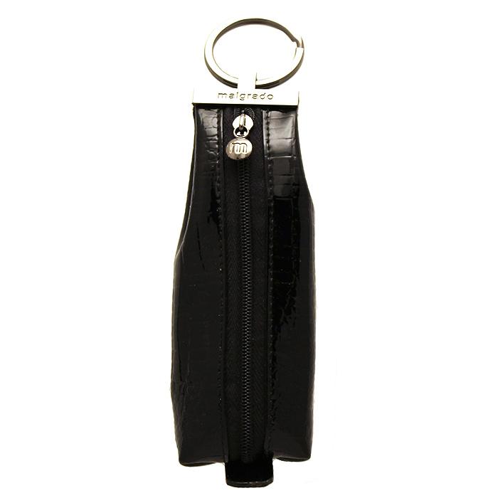 Ключница Malgrado, цвет: черный. 52017-4652017-46# BlackКомпактная ключница Malgrado изготовлена из натуральной кожи и имеет одно отделение на молнии. Внутри находится металлическая цепочка с кольцом для ключей. Снаружи - металлическое кольцо для возможности крепления к поясу или сумке. Ключница упакована в коробку из плотного картона с логотипом фирмы. Этот аксессуар станет замечательным подарком человеку, ценящему качественные и практичные вещи.