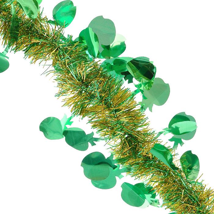 Новогодняя мишура Magic Time, диаметр 5 см, длина 200 см, цвет: зеленый, золотистый. 2693426934Новогодняя мишура Magic Time зеленого и золотистого цвета, выполненная из ПВХ, поможет вам украсить свой дом к предстоящим праздникам. А новогодняя елка с таким украшением станет еще наряднее. Мишура с декоративными элементами в форме яблок армирована, то есть имеет проволоку внутри и способна сохранять приданную ей форму. Новогодней мишурой можно украсить все, что угодно - елку, квартиру, дачу, офис - как внутри, так и снаружи. Можно сложить новогодние поздравления, буквы и цифры, мишурой можно украсить и дополнить гирлянды, можно выделить дверные колонны, оплести дверные проемы. Коллекция декоративных украшений из серии Magic Time принесет в ваш дом ни с чем несравнимое ощущение волшебства! Создайте в своем доме атмосферу тепла, веселья и радости, украшая его всей семьей. Характеристики: Материал: ПВХ. Цвет: зеленый, золотистый. Длина: 200 см. Диаметр: 5 см. Артикул: 26934.