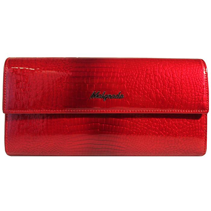 Кошелек женский Malgrado, цвет: красный. 72044-1-4472044-1-44# RedСтильный кошелек Malgrado изготовлен из натуральной лакированной кожи с тиснением под рептилию. Лицевая сторона изделия оформлена гравировкой в виде названия бренда. Кошелек закрывается широким клапаном на застежку-кнопку. Внутри расположены три отделения для купюр и отделение для мелочи на защелке. Изюминкой модели является отделение на застежке-кнопке, внутри которого имеются десять прорезных кармашков для пластиковых карт и визиток, кармашек с прозрачным окошком из мягкого пластика и один потайной карман для различных документов и мелких бумаг. Тыльная сторона изделия оформлена прорезным карманом на застежке-молнии. Кошелек упакован в подарочную металлическую коробку с логотипом фирмы. Такой кошелек станет замечательным подарком человеку, ценящему качественные и практичные вещи.