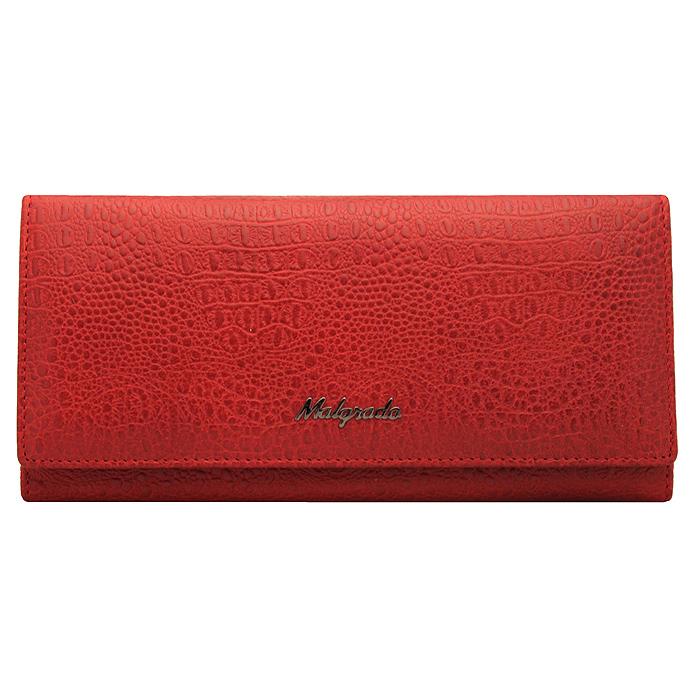 Кошелек женский Malgrado, цвет: красный. 72076-8203D72076-8203D RedСтильный кошелек Malgrado изготовлен из натуральной кожи красного цвета с декоративным тиснением под рептилию и вмещает в себя купюры в развернутом виде в полную длину. Внутри содержит шесть основных отделений, два из которых на молнии, восемь кармашков для карточек, визиток или кредиток и одно с прозрачным окошком. С оборотной стороны расположен карман на молнии. Закрывается кошелек клапаном на кнопку. Под клапаном также расположено два дополнительных отделения. Кошелек упакован в подарочную металлическую коробку с логотипом фирмы. Такой кошелек станет замечательным подарком человеку, ценящему качественные и практичные вещи.