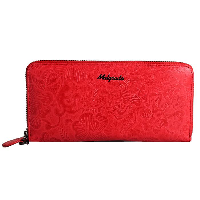 Клатч-кошелек женский Malgrado, цвет: красный. 73005-18202#73005-18202# RedСтильный клатч Malgrado изготовлен из натуральной кожи красного цвета с декоративным тиснением в виде цветочков и закрывается на молнию. Внутри расположены четыре основных отделения, одно из которых на молнии, по четыре кармашка на боковых стенках для карточек, визиток, кредиток и два кармашка побольше, в которые можно положить пропуск, проездной билет или фотографию. В комплект так же входит кожаный ремешок для удобной переноски. Клатч упакован в металлическую коробку с логотипом фирмы. Такой кошелек станет замечательным подарком человеку, ценящему качественные и практичные вещи.