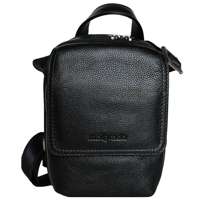 Сумка мужская Malgrado, цвет: черный. BR10-459 blackBR10-459 blackОригинальная мужская сумка Malgrado выполнена из натуральной кожи черного цвета. Сумка с удобной ручкой имеет два отделения, закрывающиеся на застежки-молнии. В первом отделении имеется открытый кармашек. Во втором - два накладных кармана, одно отделение для пишущих принадлежностей и открытый карман. На передней стороне сумки имеется дополнительный карман, который закрывается на застежку-молнию и клапаном на магнитную кнопку. В комплекте плечевой текстильный ремень и чехол для хранения.