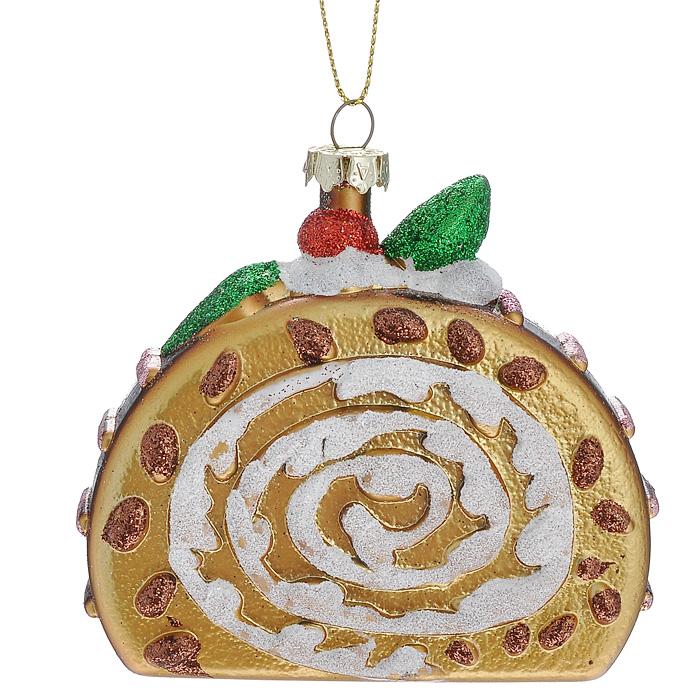 Новогоднее подвесное украшение Лакомый кусочек. 2589425894Оригинальное новогоднее украшение выполнено из пластика в виде кусочка рулета, украшенного блестками. С помощью специальной петельки украшение можно повесить в любом понравившемся вам месте. Но, конечно же, удачнее всего такая игрушка будет смотреться на праздничной елке. Новогодние украшения приносят в дом волшебство и ощущение праздника. Создайте в своем доме атмосферу веселья и радости, украшая всей семьей новогоднюю елку нарядными игрушками, которые будут из года в год накапливать теплоту воспоминаний. Коллекция декоративных украшений из серии Magic Time принесет в ваш дом ни с чем несравнимое ощущение волшебства!