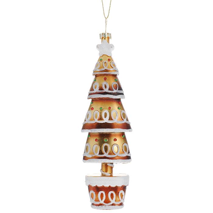Новогоднее подвесное украшение Елка, цвет: золотистый, белый. 2590425904Оригинальное новогоднее украшение выполнено из пластика в виде нарядной елочки, украшенной блестками. С помощью специальной петельки украшение можно повесить в любом понравившемся вам месте. Но, конечно же, удачнее всего такая игрушка будет смотреться на праздничной елке. Новогодние украшения приносят в дом волшебство и ощущение праздника. Создайте в своем доме атмосферу веселья и радости, украшая всей семьей новогоднюю елку нарядными игрушками, которые будут из года в год накапливать теплоту воспоминаний. Коллекция декоративных украшений из серии Magic Time принесет в ваш дом ни с чем несравнимое ощущение волшебства! Характеристики: Материал: пластик, текстиль. Размер украшения: 17 см х 5,5 см х 3 см. Артикул: 25904.